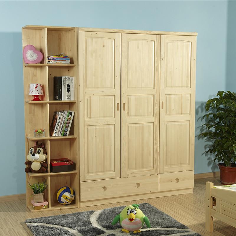 琪幻 衣柜进口芬兰松 实木衣柜 三门衣柜 简约现代衣橱带抽屉 卧室