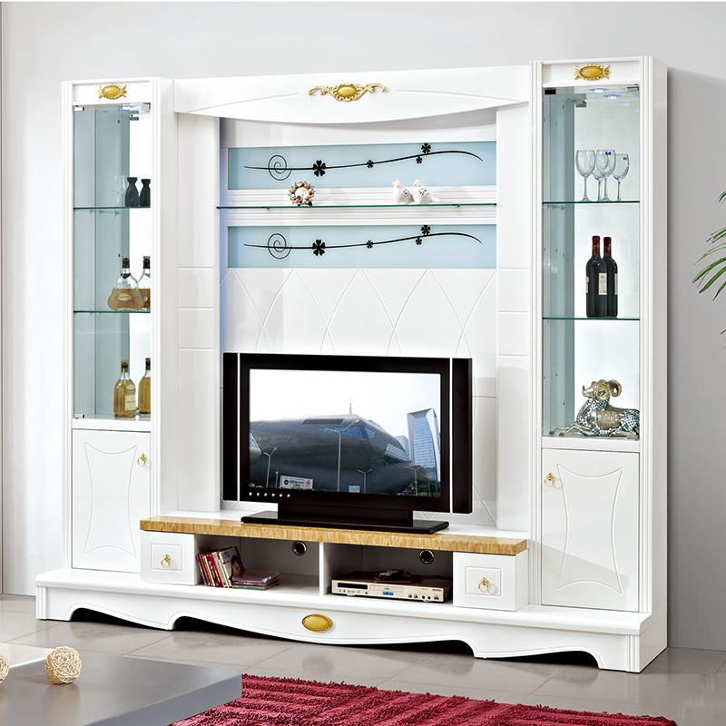 琪幻 欧式电视柜组合背景墙柜 现代客厅影视墙柜地柜酒柜组合柜图片