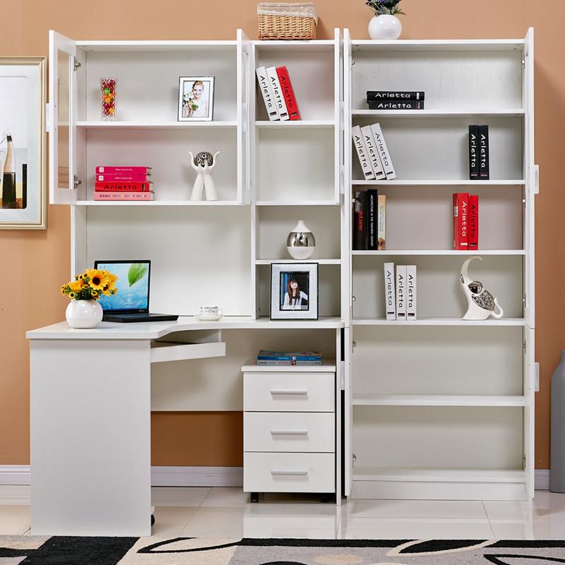 晋木元 组合转角电脑桌带书柜学习桌书柜书架书桌转角