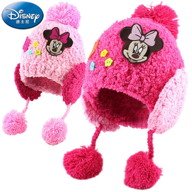儿童帽子秋冬迪士尼可爱女童保暖毛线帽女孩宝宝针织护耳帽子韩版