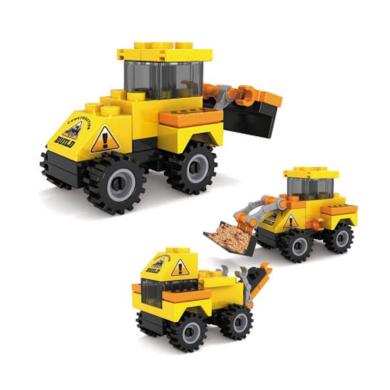 巧乐童动手diy视频拼插锻炼力观察力儿童玩具积木警车消防工程拼装积木搭建停车场军事图片