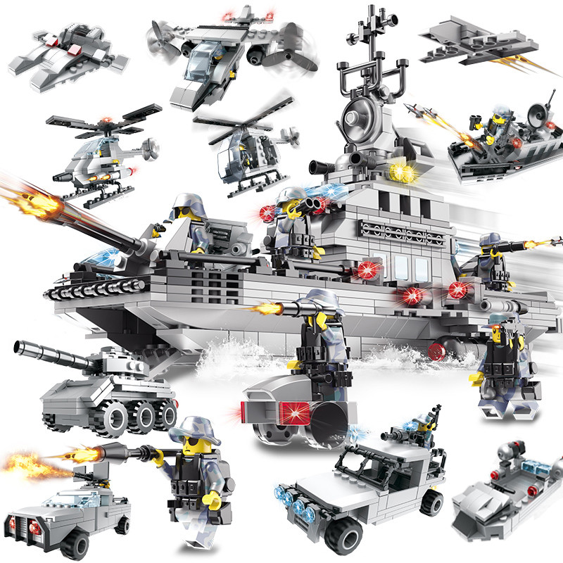 巧乐童军事积木航空登陆母舰飞机坦克人仔 儿童启蒙益智拼装男孩礼物