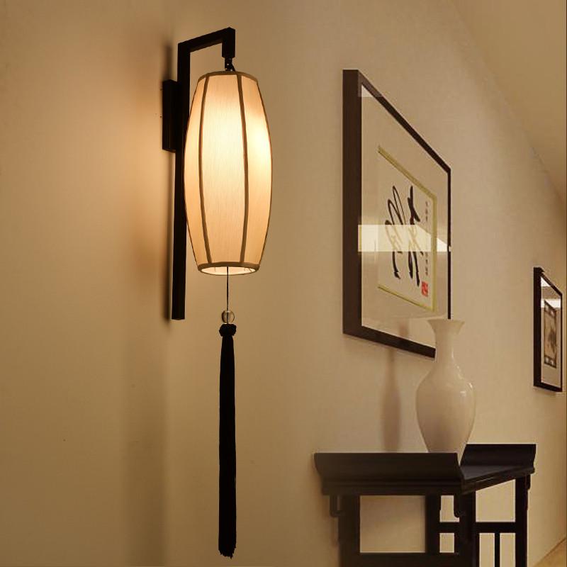 新中式壁灯现代简约铁艺走廊灯卧室布艺床头灯客厅电视背景墙壁灯