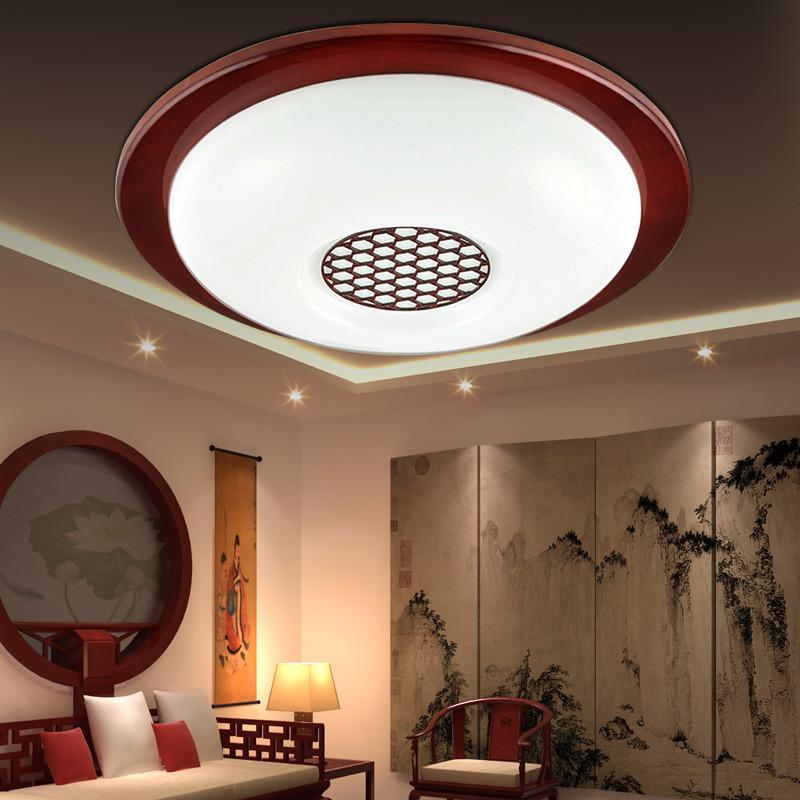可优迪 现代中式圆形实木雕花亚克力卧室阳台过道灯玄关led 仿古吸顶