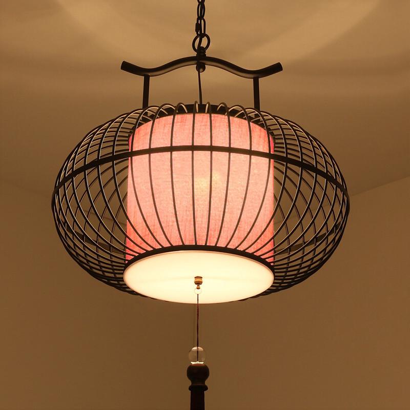 可优迪 现代新中式铁艺灯笼吊灯 仿古茶楼鸟笼灯具酒店过道走廊工程图片