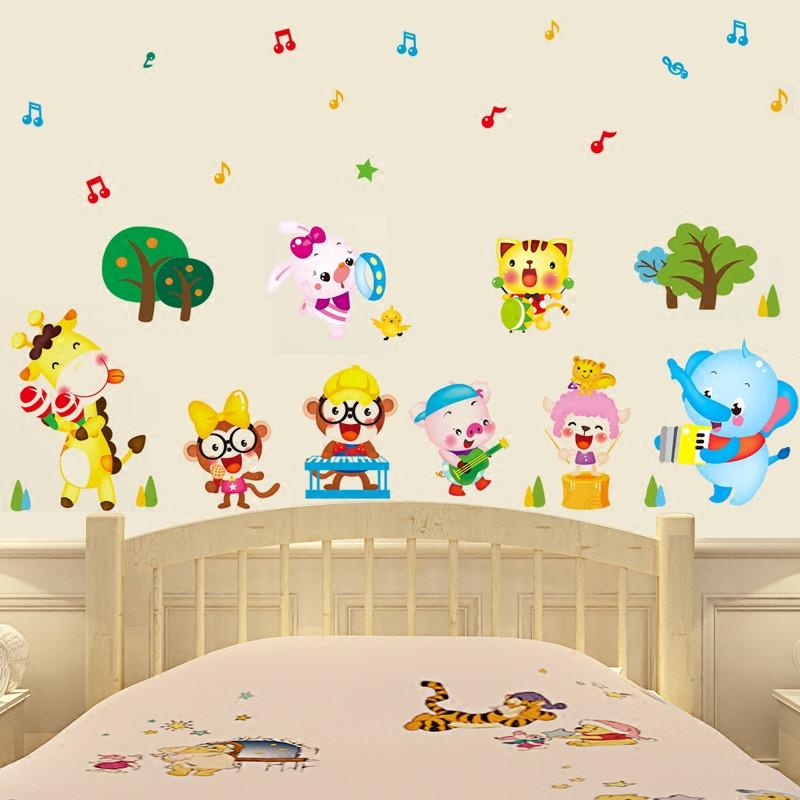 宜佳蕙音乐元素墙贴纸动物音乐会墙贴画墙纸贴儿童房幼儿园教室布置