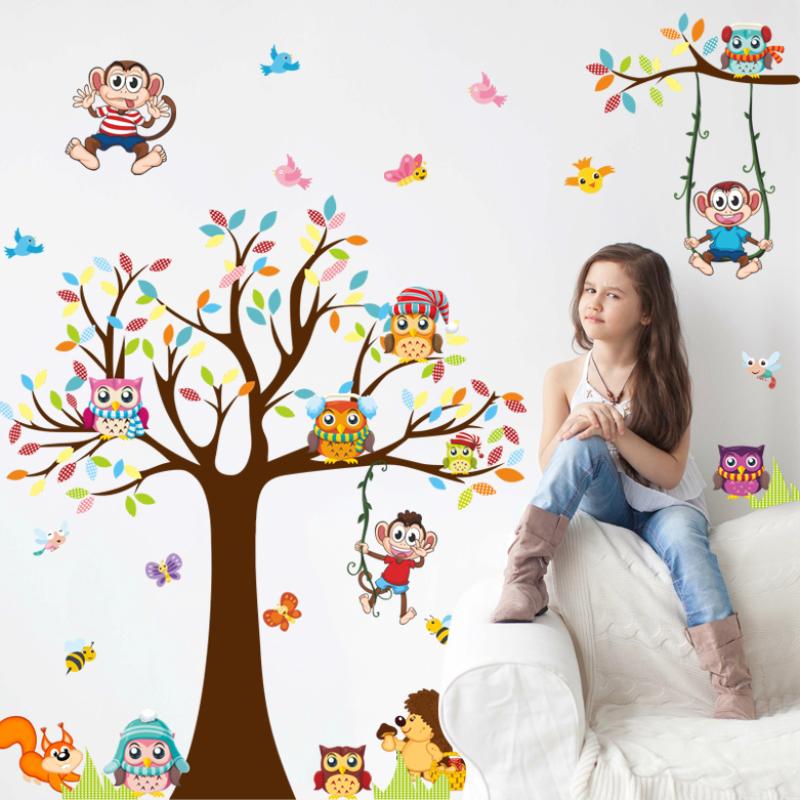 可移除卡通动物墙纸贴画儿童房幼儿园卧室客厅装饰画自粘墙贴纸