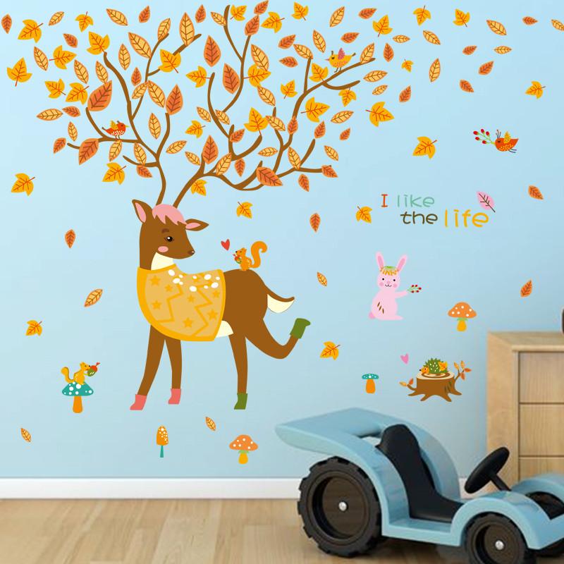 卡通可爱童话小鹿墙贴创意儿童房幼儿园卧室可移除装饰墙贴画