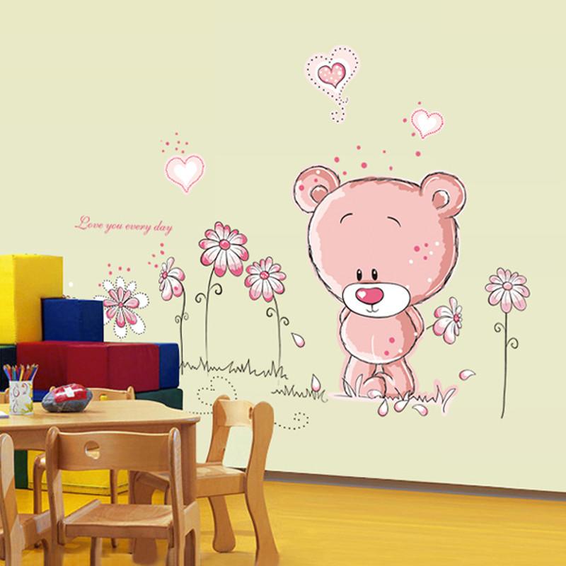 呆呆熊墙贴纸贴画可移除客厅卧室电视墙儿童房可爱卡通轻松熊包邮