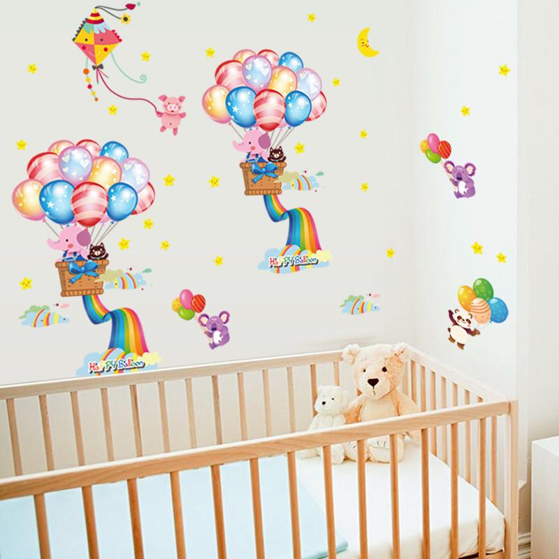 热气球动物墙壁装饰贴纸 卧室卡通可爱幼儿园儿童房墙
