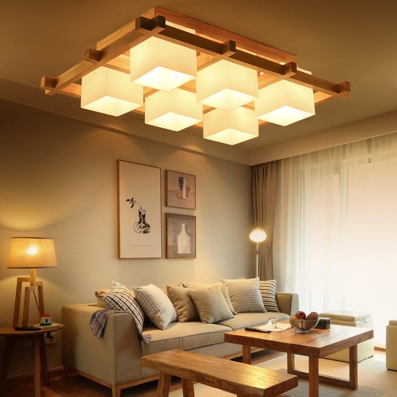 艾康日式吸顶灯简约现代中式led榻榻米客厅灯木质卧室