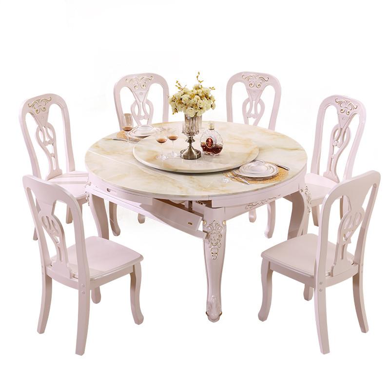 欧式伸缩餐桌椅组合 实木折叠可伸缩餐桌大理石圆桌小户型饭桌