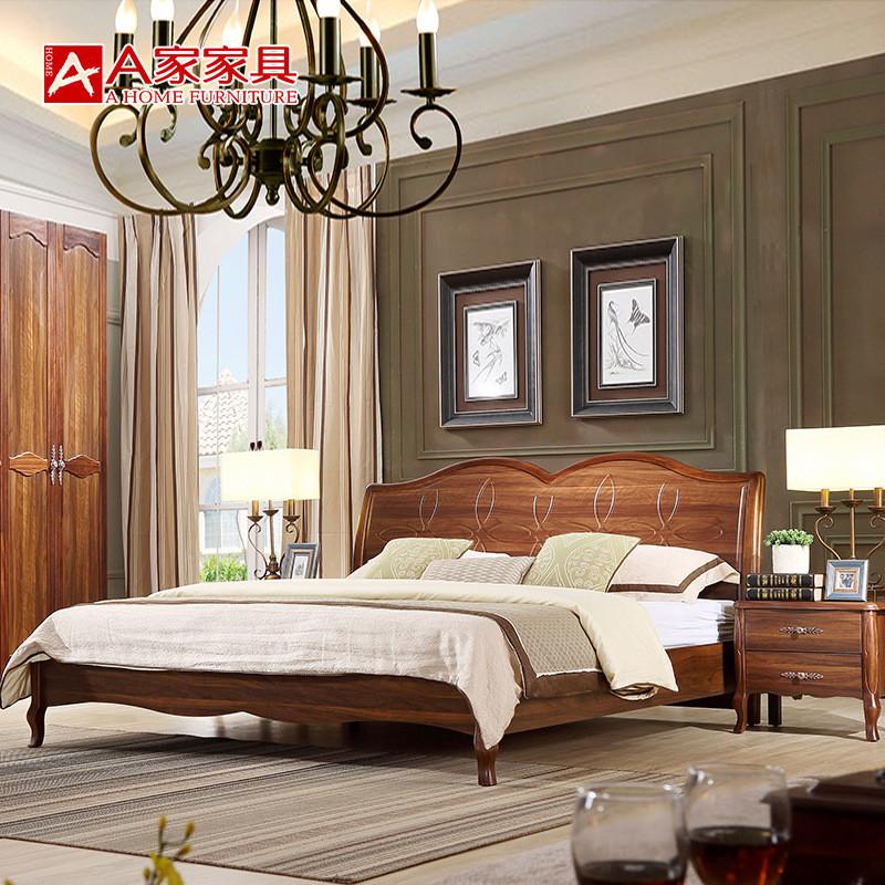 8米1.5简约欧式床卧室婚床核桃木双人床