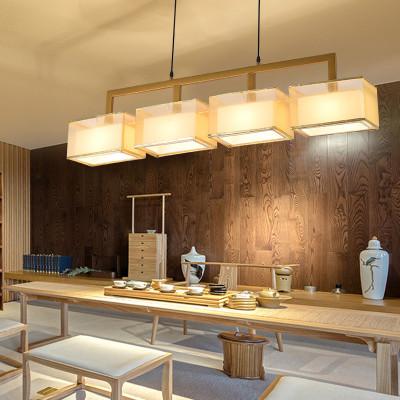 新中式吊灯 餐厅吊灯三头铁艺现代简约长方形客厅吊灯仿古吧台酒店