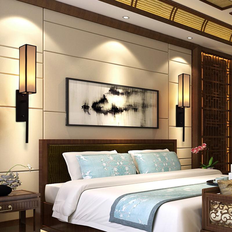 現代新中式壁燈 古典簡約臥室床頭燈酒店走廊過道燈樓梯客廳壁燈