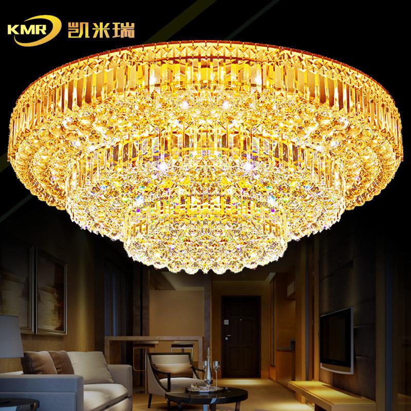 凯米瑞 现代大气欧式水晶吊灯客厅灯圆形水晶灯吸顶灯
