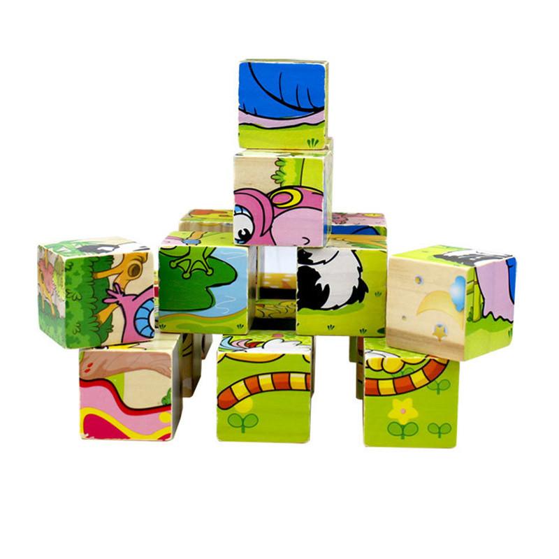 木妈妈儿童六面野生动物拼图玩具木质幼儿3d立体积木玩具3-6周岁早教