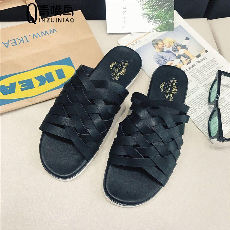 莞馨新款夏季2017罗马编制拖鞋潮户外防水休闲凉鞋男士沙滩鞋黑色