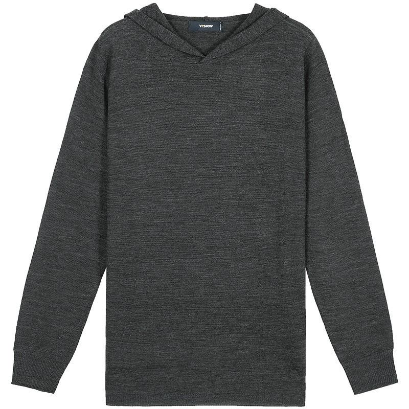 viishow2016秋装新品针织衫男士连帽圆领毛线衣潮青年套头上衣男