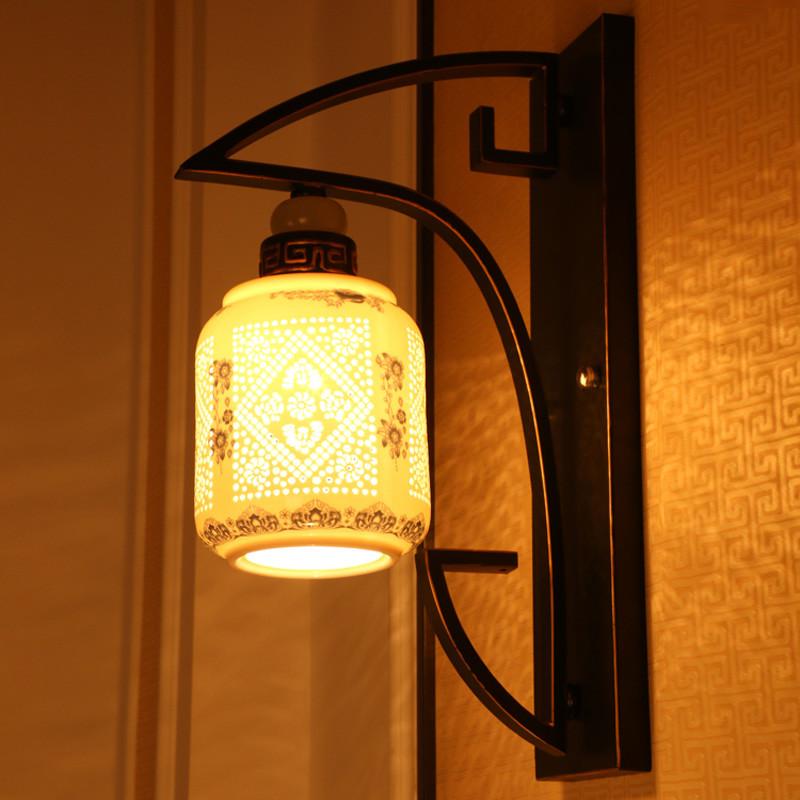 dtl新中式客厅卧室床头单头陶瓷仿云石铁艺壁灯过道走廊楼梯玄关现代