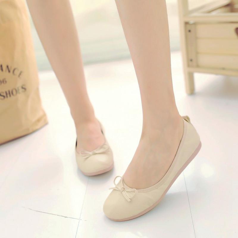 春夏秋季新款常见鞋大童女生名字圆头平底皮鞋少女的蛋卷最单鞋图片