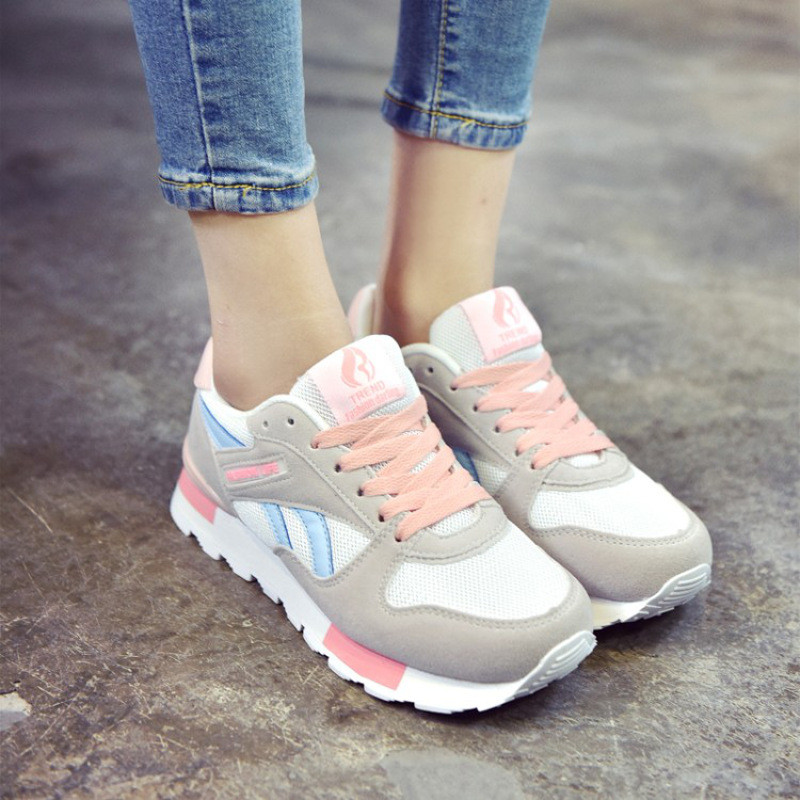 韩版小女孩运动鞋女跑步鞋平底鞋女初中板鞋单鞋中大童作文学生鞋来女鞋让我初中图片
