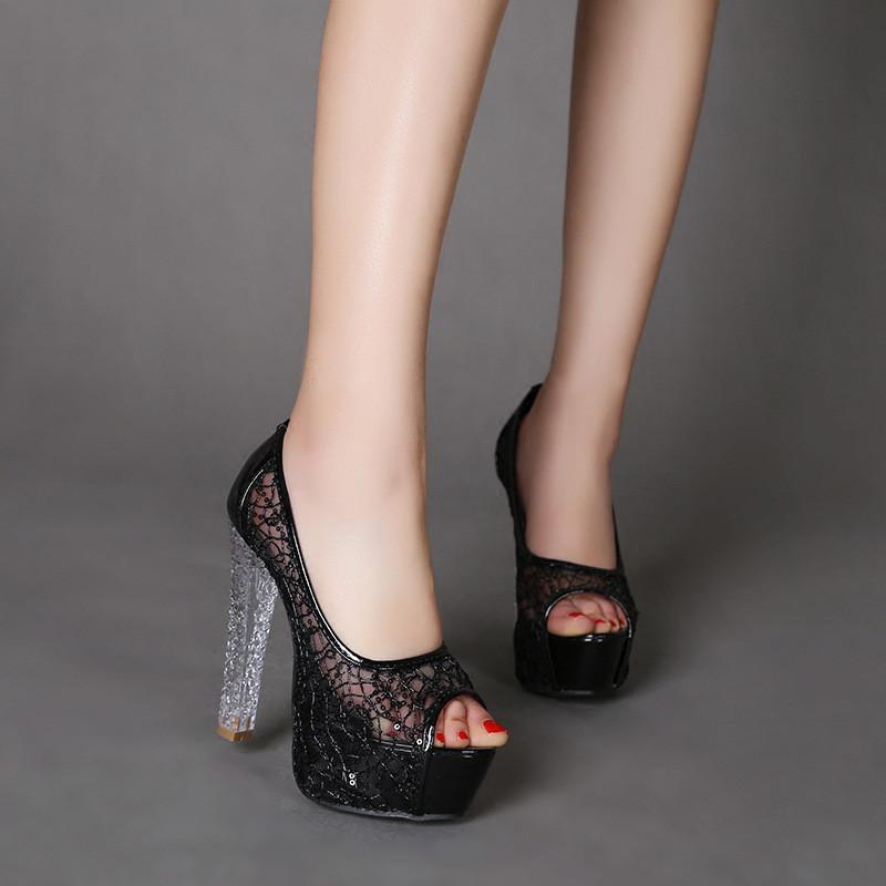 粗跟水晶跟凉鞋高跟鞋鱼嘴网纱亮片镂空透气舒适性感夏季新款女鞋