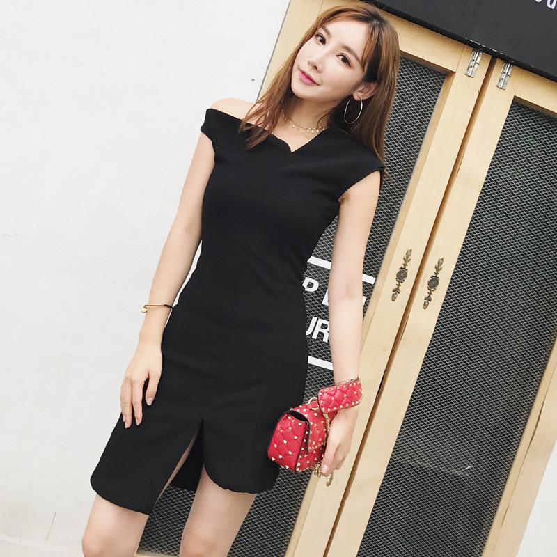 名媛气质女装性感斜肩短裙不规则裙摆设计纯色连衣裙子