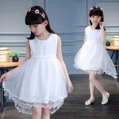 mbts萌宝童尚女童连衣裙夏季新款小学生六一表演裙子小女孩白色公主裙