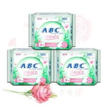 ABC普通型淡雅棉柔卫生护垫20片*3包