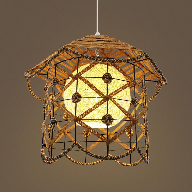 复古田园风阳台餐厅吊灯吧台藤艺饭厅手工竹编个性创意儿童房子灯