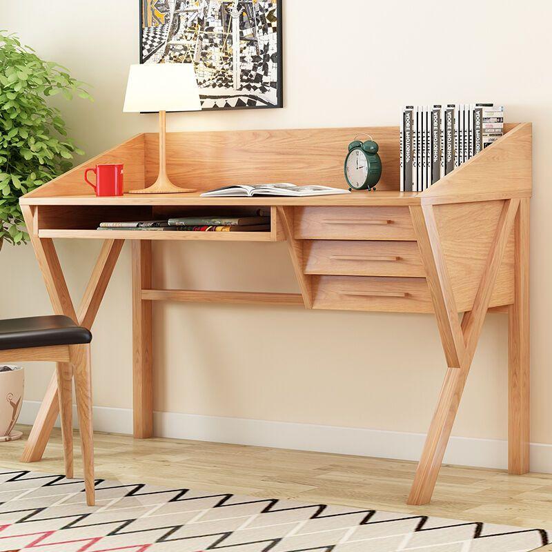 米莱克 全实木书桌 电脑桌办公桌 简约白橡木书桌 创意个性书桌