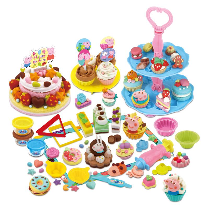 小猪佩奇玩具 超轻粘土彩泥橡皮泥套装 儿童无毒diy手工食玩黏土 配人