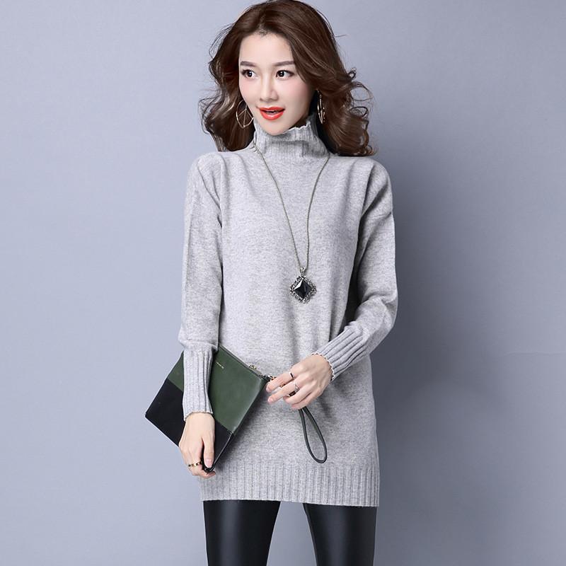 珍真羊 纯羊毛衫秋冬新款品牌女装中长款针织衫百搭韩版毛衣女宽松套