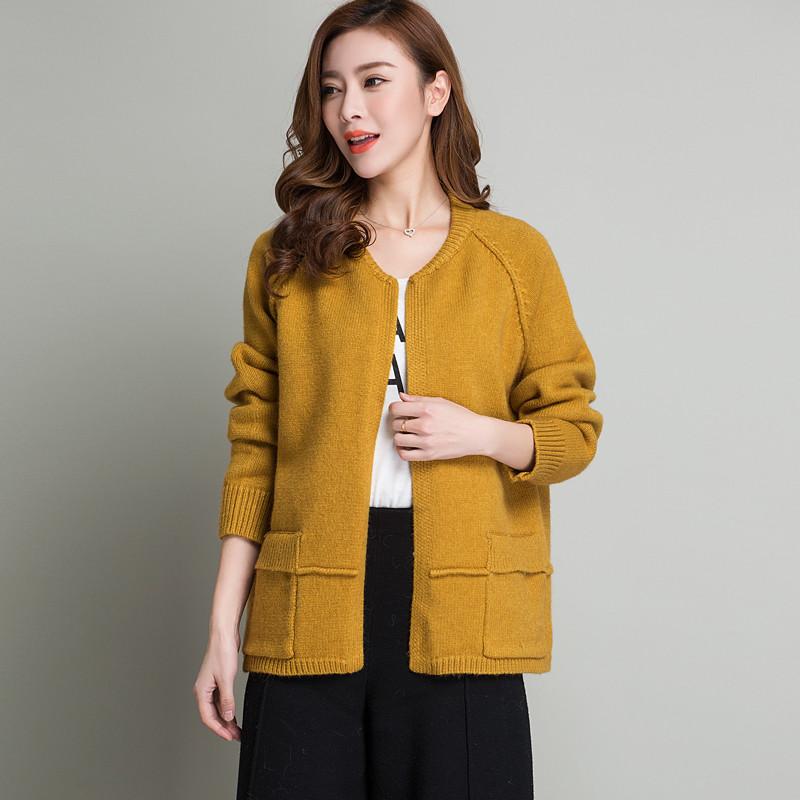 珍真羊 春季新款时尚女式针织衫开衫韩版短款小开衫外套百搭显瘦外搭