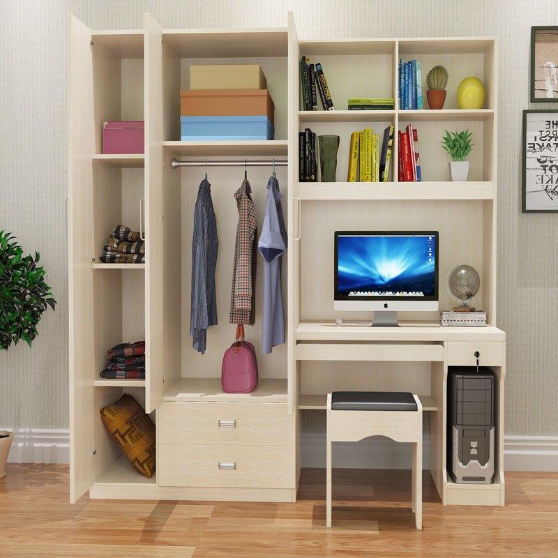 简约台式电脑桌衣柜组合家用书柜 现代连体书桌柜学生烤漆一体柜图片