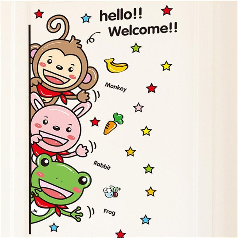 墙贴儿童房防水贴纸贴画可爱动物欢迎门贴welcome贴好后约58cm33cm中