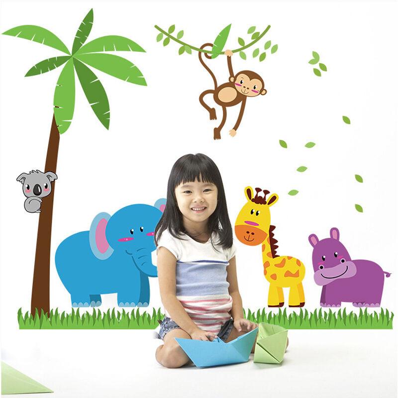 吉朵芸特大号幼儿园教室墙壁装饰贴画儿童房装饰墙贴卡通贴纸动物椰树