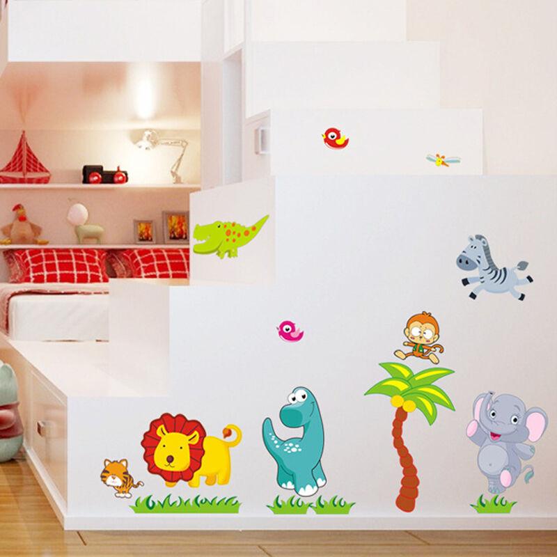 吉朵芸卡通动漫贴画狮子大象儿童房装饰纸幼儿园教师墙贴动物聚会贴后