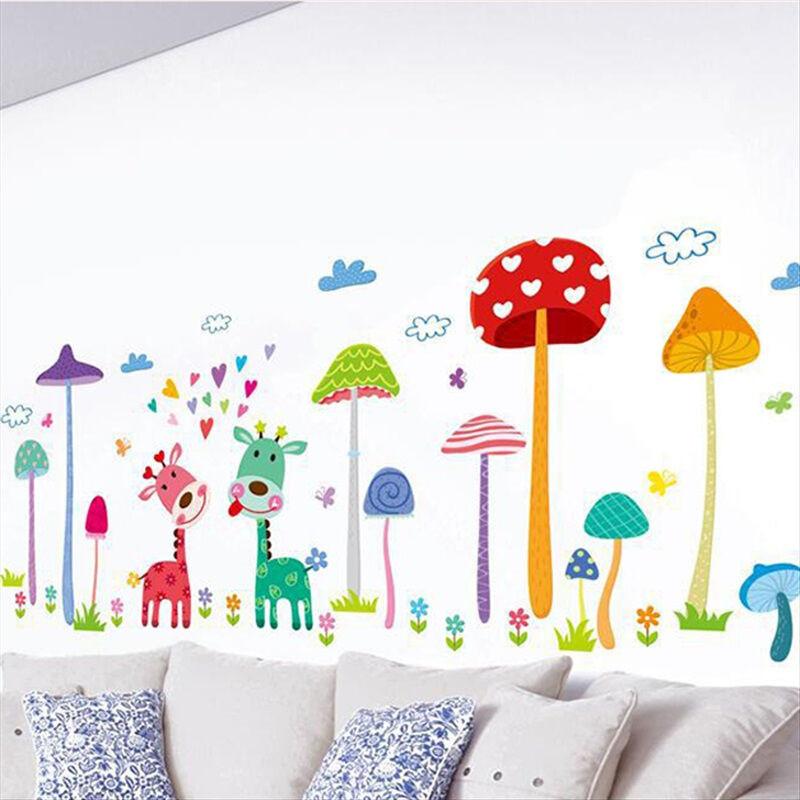 墙贴环保pvc防水墙贴可移除幼儿园装饰贴纸蘑菇森林贴后约119cm50cm大