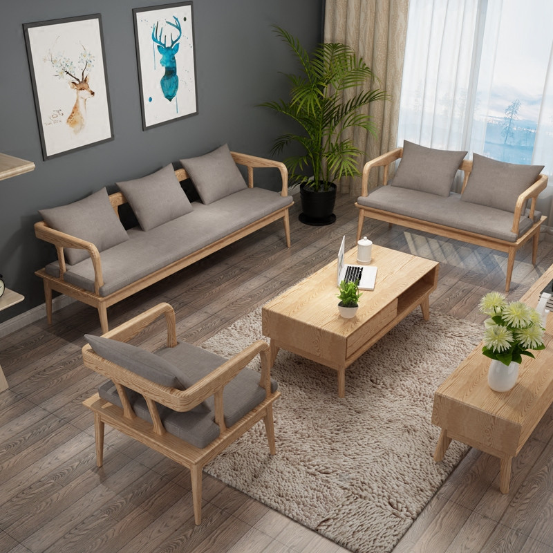 景山百岁 实木沙发茶几组合 5件套u型木质布艺坐垫大小户型客厅套房
