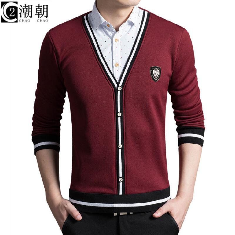 假两件衬衫男士秋冬加绒保暖衬衫毛衫针织外套衬衣男上衣运动裤