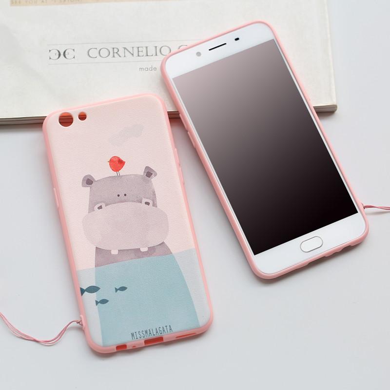 oppoa57手机套 a57t a57m 手机保护壳 手机保护套 粉色系卡通可爱挂绳
