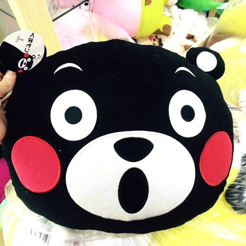【日本正版原装进口 】酷ma萌(kumamon) 熊本熊卡通毛绒玩偶靠枕 黑色