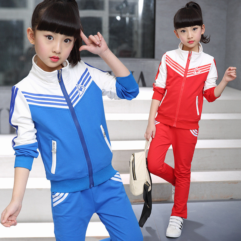 童依韩版童装女童运动套装2017新款春秋卫衣儿童两件套大童潮学生校服