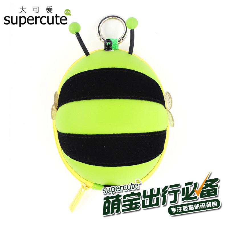 动物蜜蜂拉伸式卡包【绿色】 个性卡通eva硬壳潮包包幼儿园小学学生