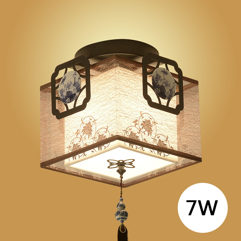 新中式吸顶灯仿古铁艺入户门厅灯 阳台灯过道灯中式吸图片