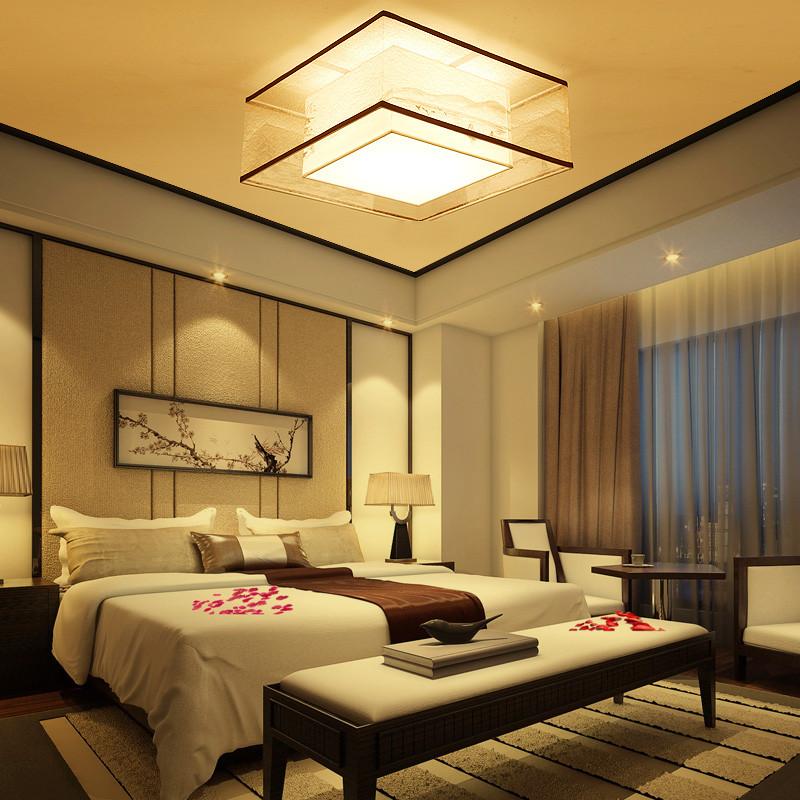 现代新中式吸顶灯手绘简约客厅灯餐厅卧室书房正方形led吸顶灯具