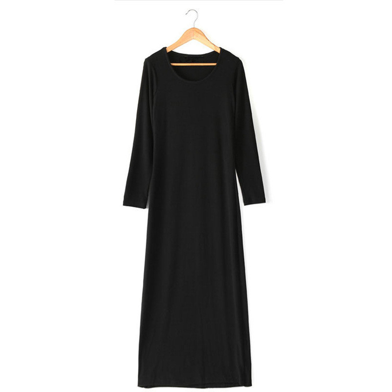 Vanled春季黑色长袖针织裙连衣裙中长款大码