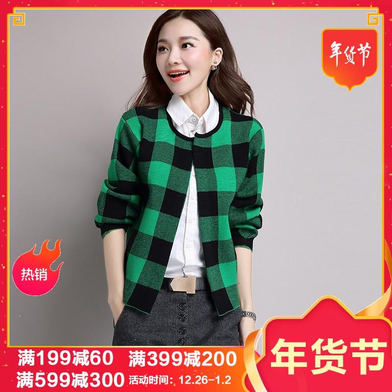 jmoory2017春秋韩版圆领长袖针织衫开衫外套女短款初秋外搭毛衣格子外